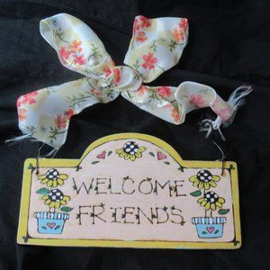 💜$2ifBundle3 NWT Welcome friends small sign decor